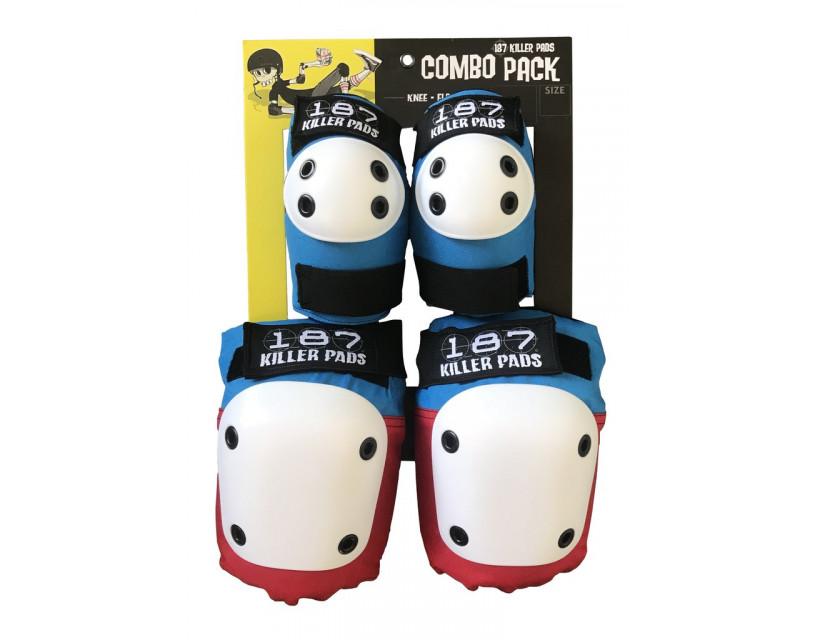 Комплект защиты 187 Killer Pads Combo Pack Red/White/Blue XS